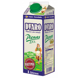 DVARO pienas 2.5% rieb., 1l